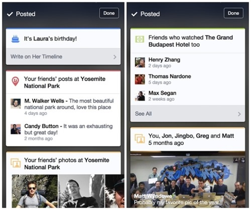 ios facebook-cards-test inspirat din Google Now