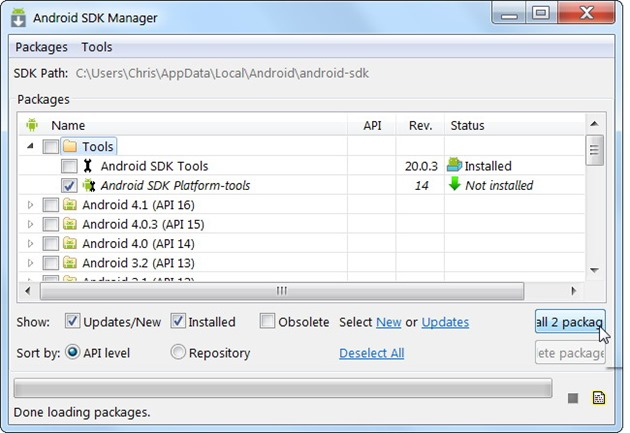 Backup la Android tips 5 android sdk manager