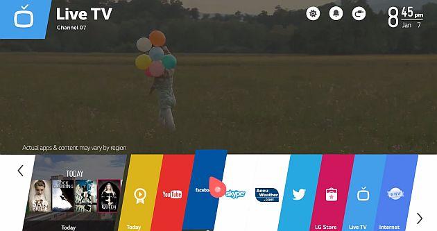 LG WebOS, meniul principal sau On-Screen