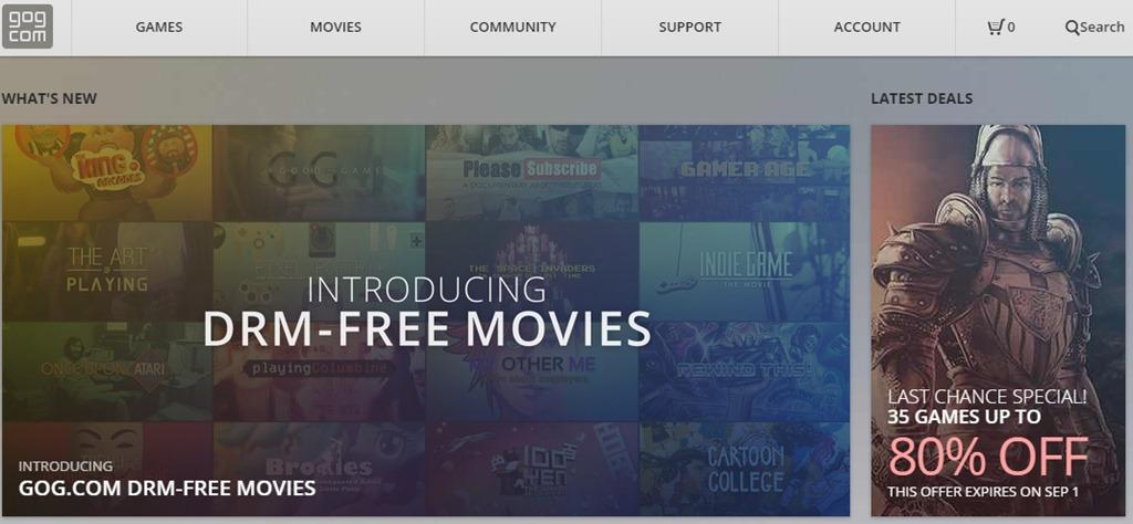 GOG, magazinul virtual de jocuri începe comercializare de filme fără DRM
