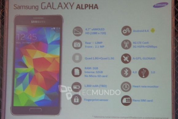 Samsung Galaxy Alpha, specificații confirmate