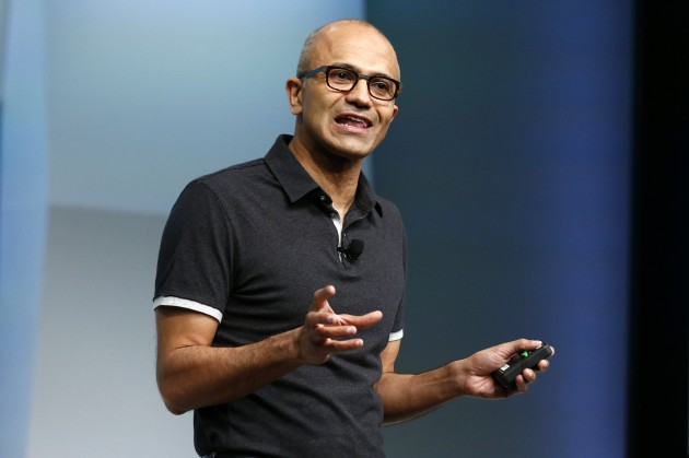 Satya Nadella, Microsoft Corp chief executive, unveils the latest models of the Surface tablet in New York