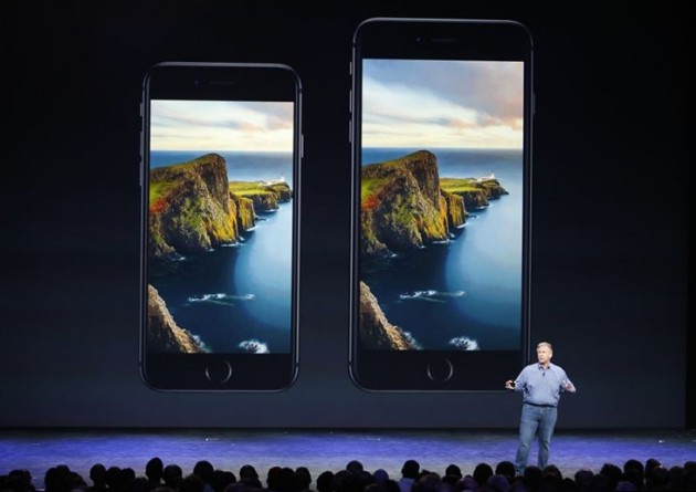 Phil Schiller, Senior Vice President at Apple, Inc. speaks about the iPhone 6 and the iPhone 6 Plus during an Apple event at the Flint Center in Cupertino