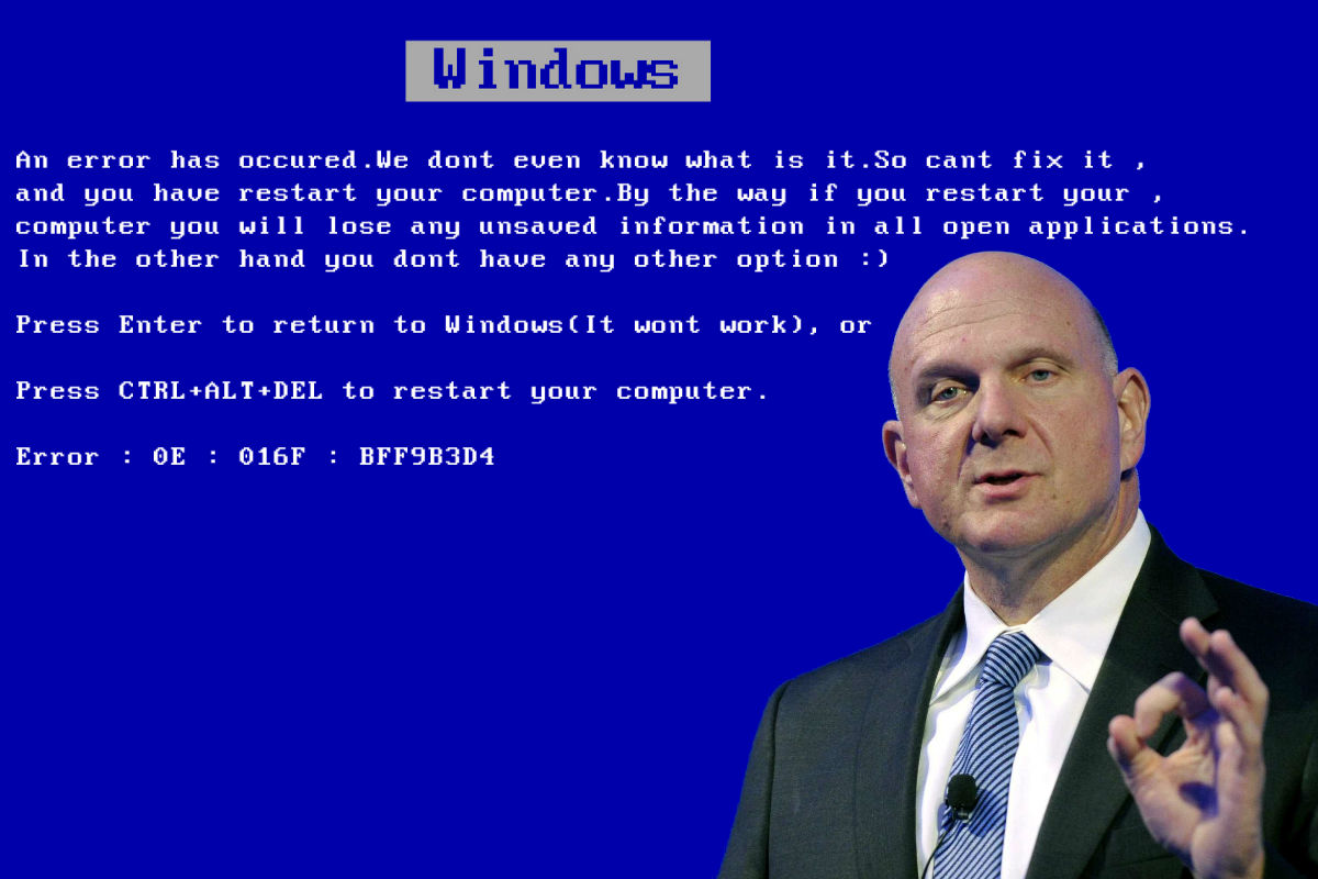 Expresia eșecului pentru Windows: Blue Screen of Death a fost creat de Steve Ballmer
