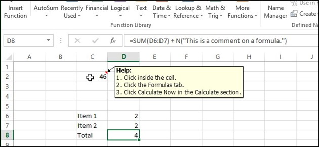 Microsoft Excel Comentarii