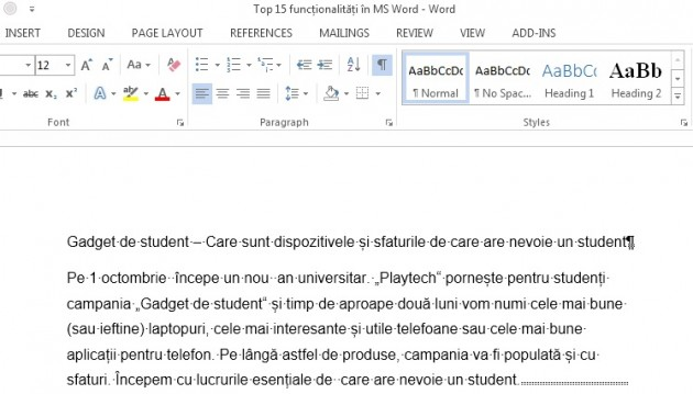 msword caractere invizibile CTRL SHIFT 8