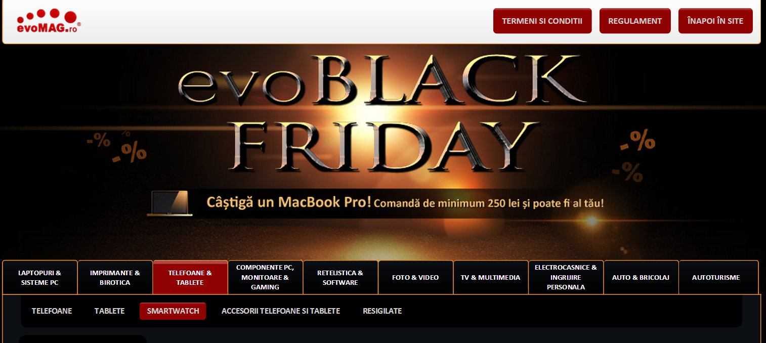 Black Friday 2014 Evomag – Promoții la laptopuri, tablete și smartphone-uri