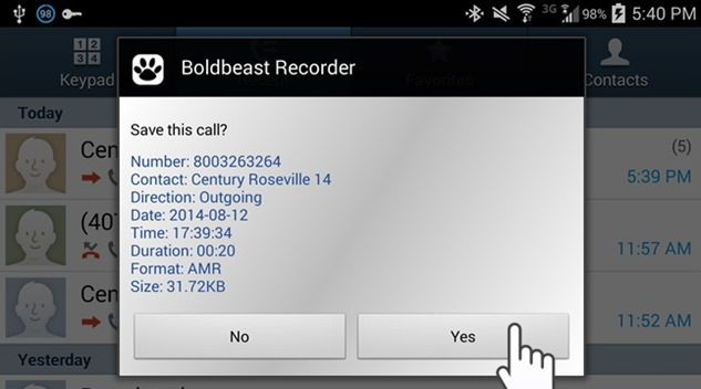 Boldbeast Recorder inregistrare apeluri telefonice android
