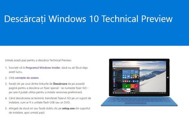 etape instalare Windows 10 Technical Preview