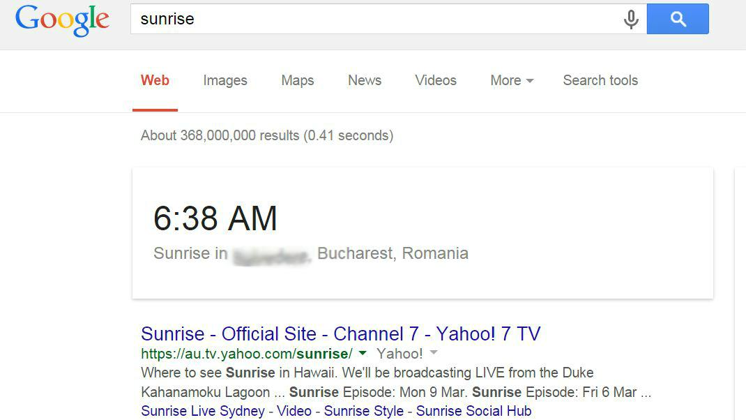 google soare rasarit apus