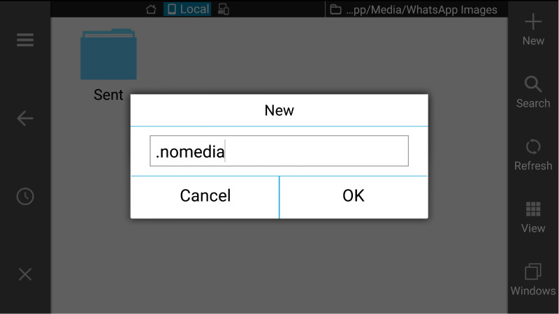 WhatsApp nomedia