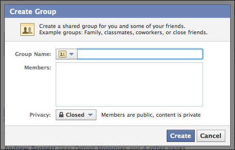 crearea unui grup de facebook