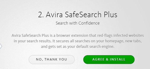 Antivirus gratuit scump malware adware Avira SafeSearch