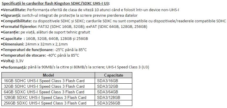 Specificatiile cardurilor Kingston