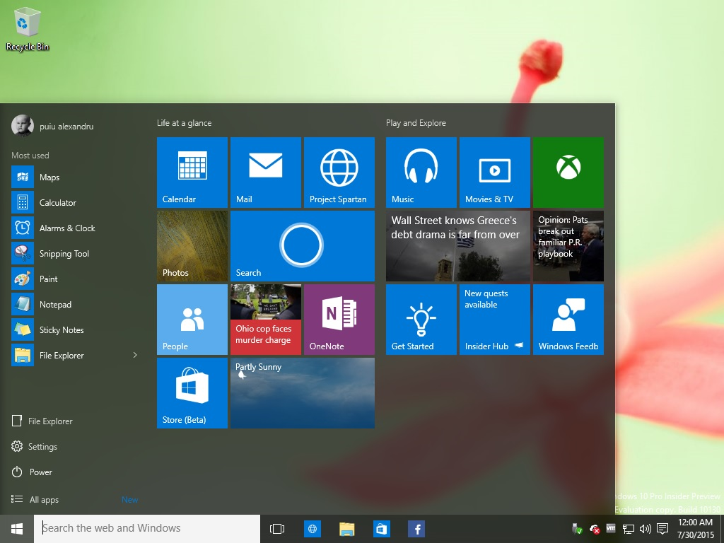 Windows 10 standard start meniu