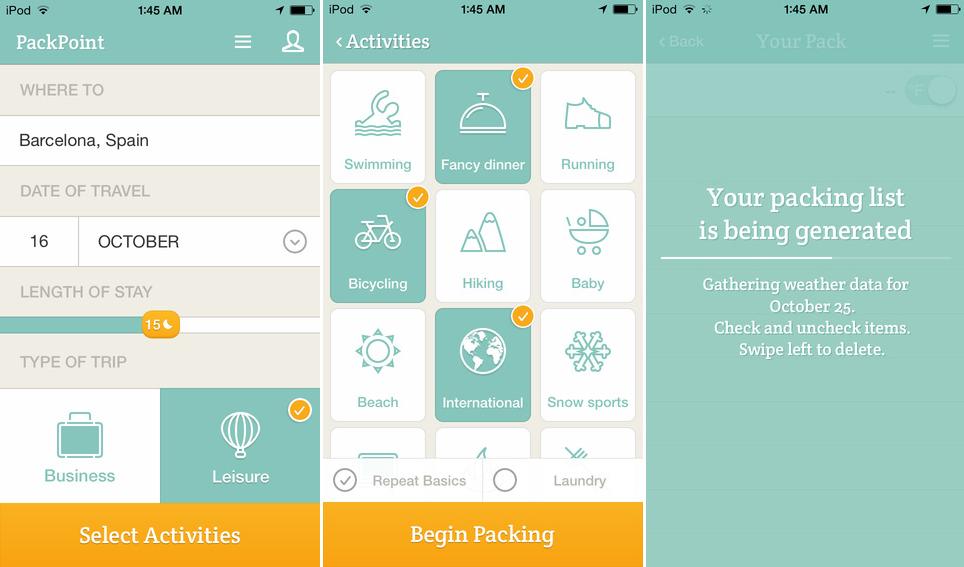 packpoint aplicații pentru vacanță