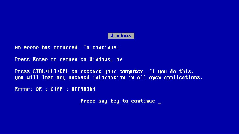 BSOD Windows 9x pana la XP