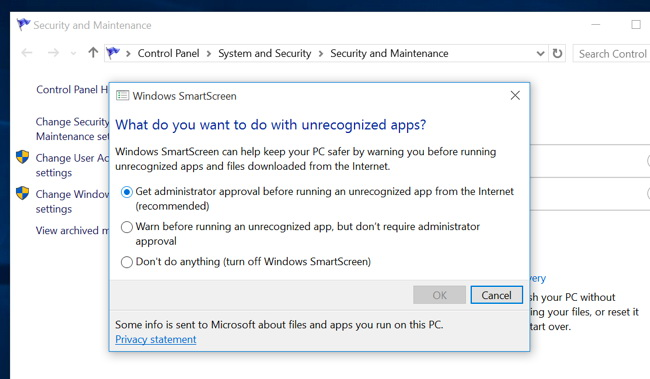 Windows 10 smartscreen dezactivare