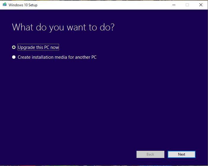 Windows 10 upgrade this pc