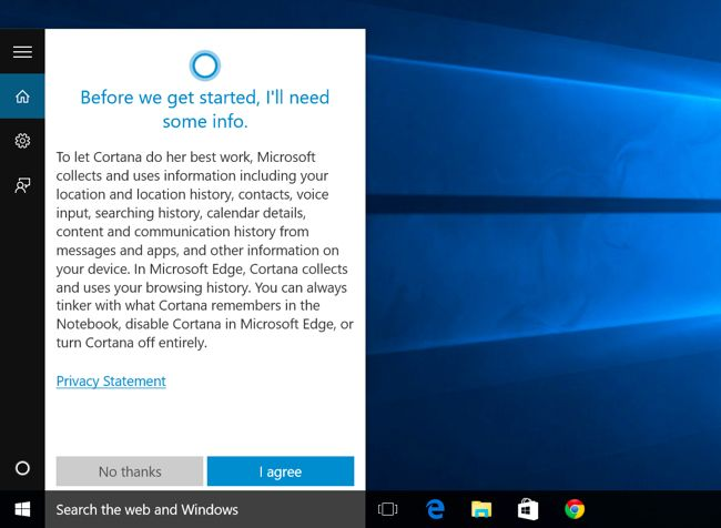 acivare cortana bara de start Windows 10