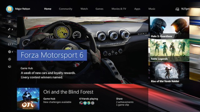 xbox one dashboard update Windows 10