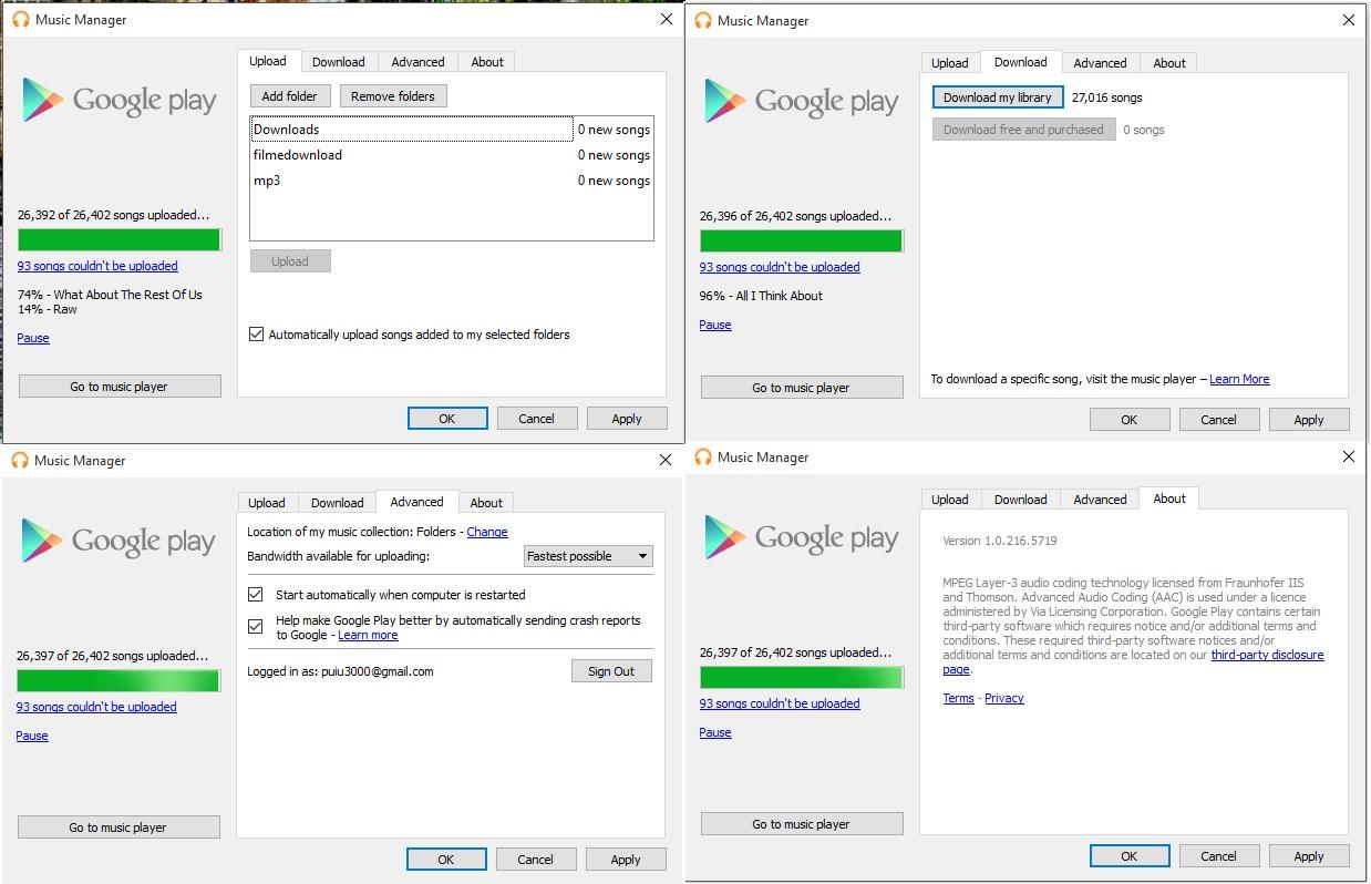 Google Music manager configuraţia iniţială