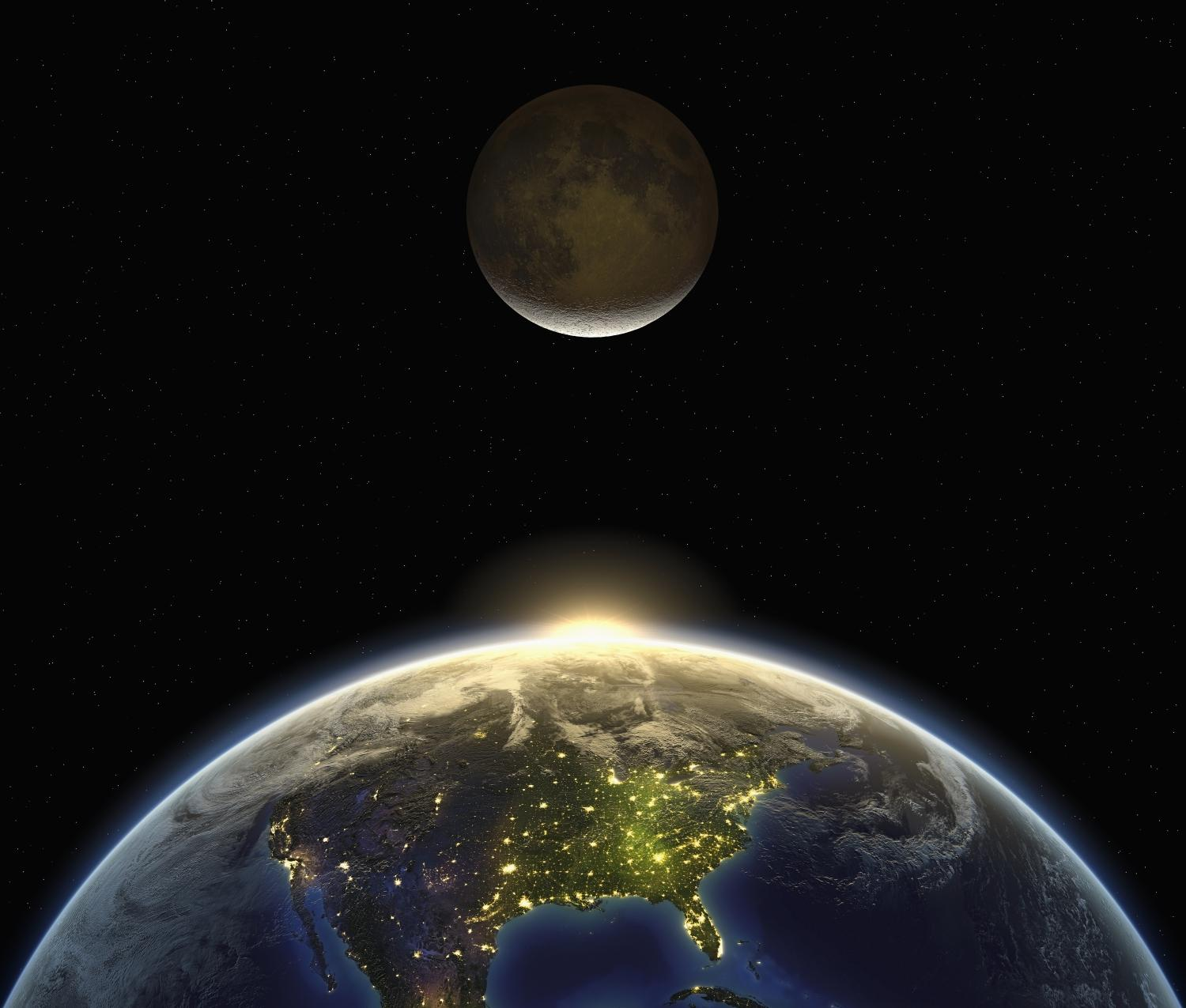 USA --- the sun and the moon appearing over the earth. the dark side of the earth shows the city and night lights --- Image by © Matthias Kulka/Corbis