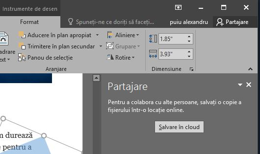 Office 2016 Partajare colaborare document