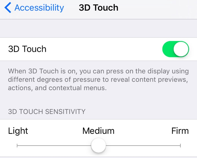 3d touch sensibilitate