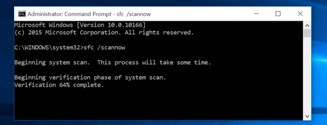 SFC -scannow system restore în Windows 10 system file checker