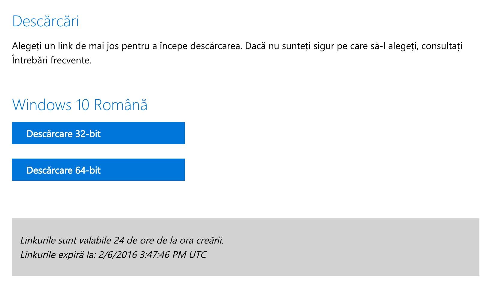Descarcare Windows 10 ISO