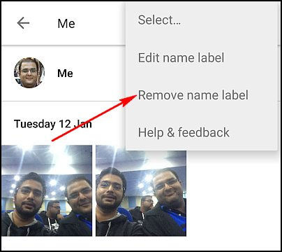 Google Photos editare eliminare etichete