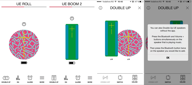 UE Boom 2 UE Roll Boxe inteligente App pairing