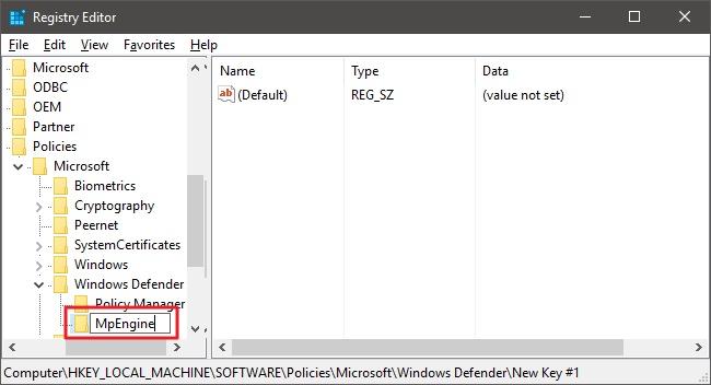 Windows Defender regeditor