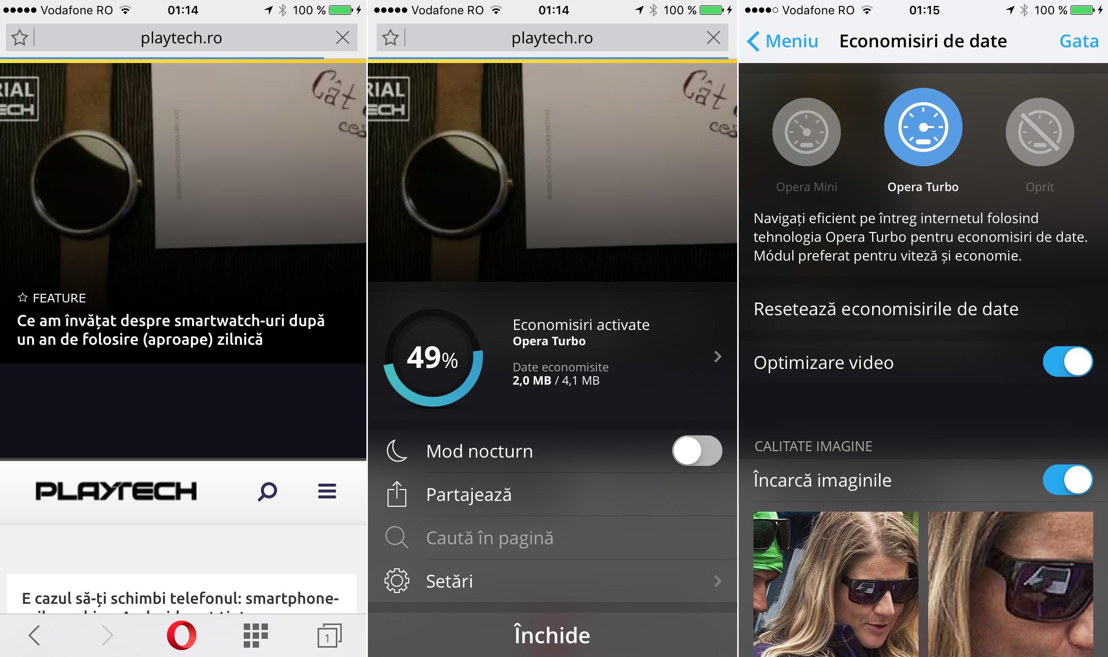 iPhone date celulare pe iPhone compresie browser Opera