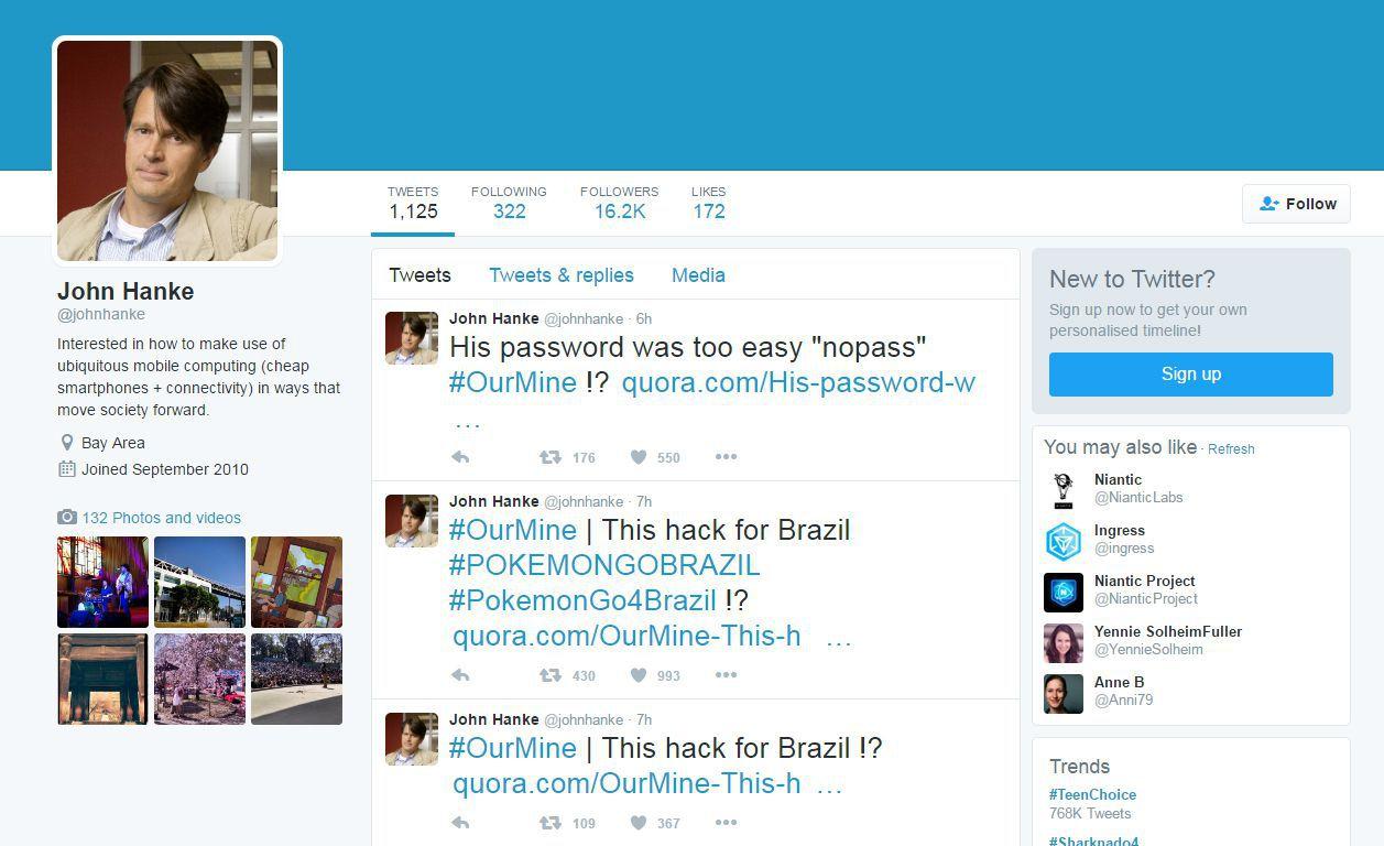 Contul lui John Hanke - Twitter