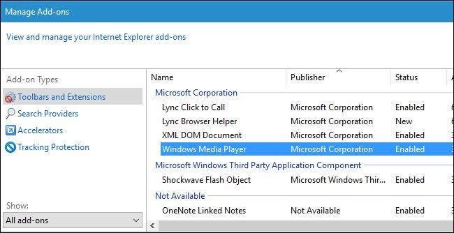 Internet Explorer no addons remove