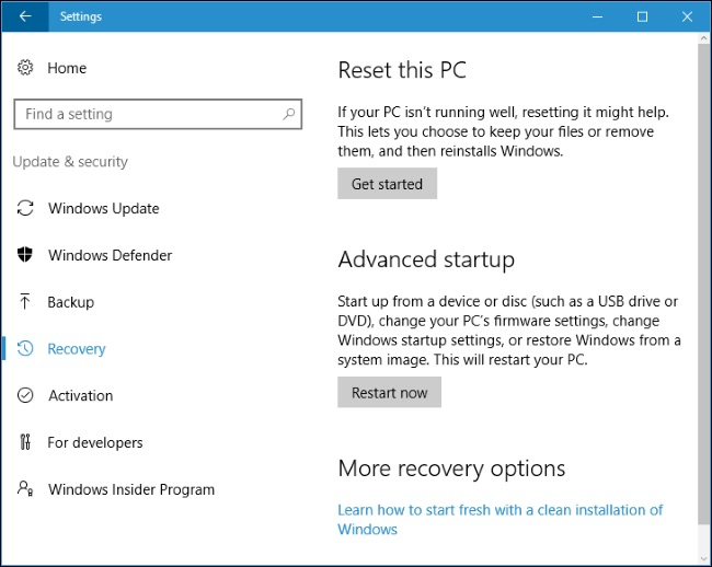 Windows Reset this pc Win 10