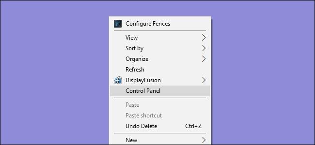 Control Panel click dreapta meniu contextual done