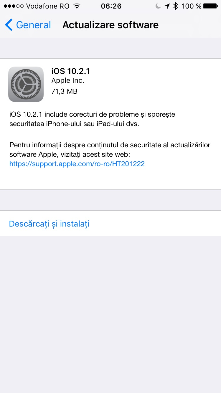 Apple iOS 10.12.1