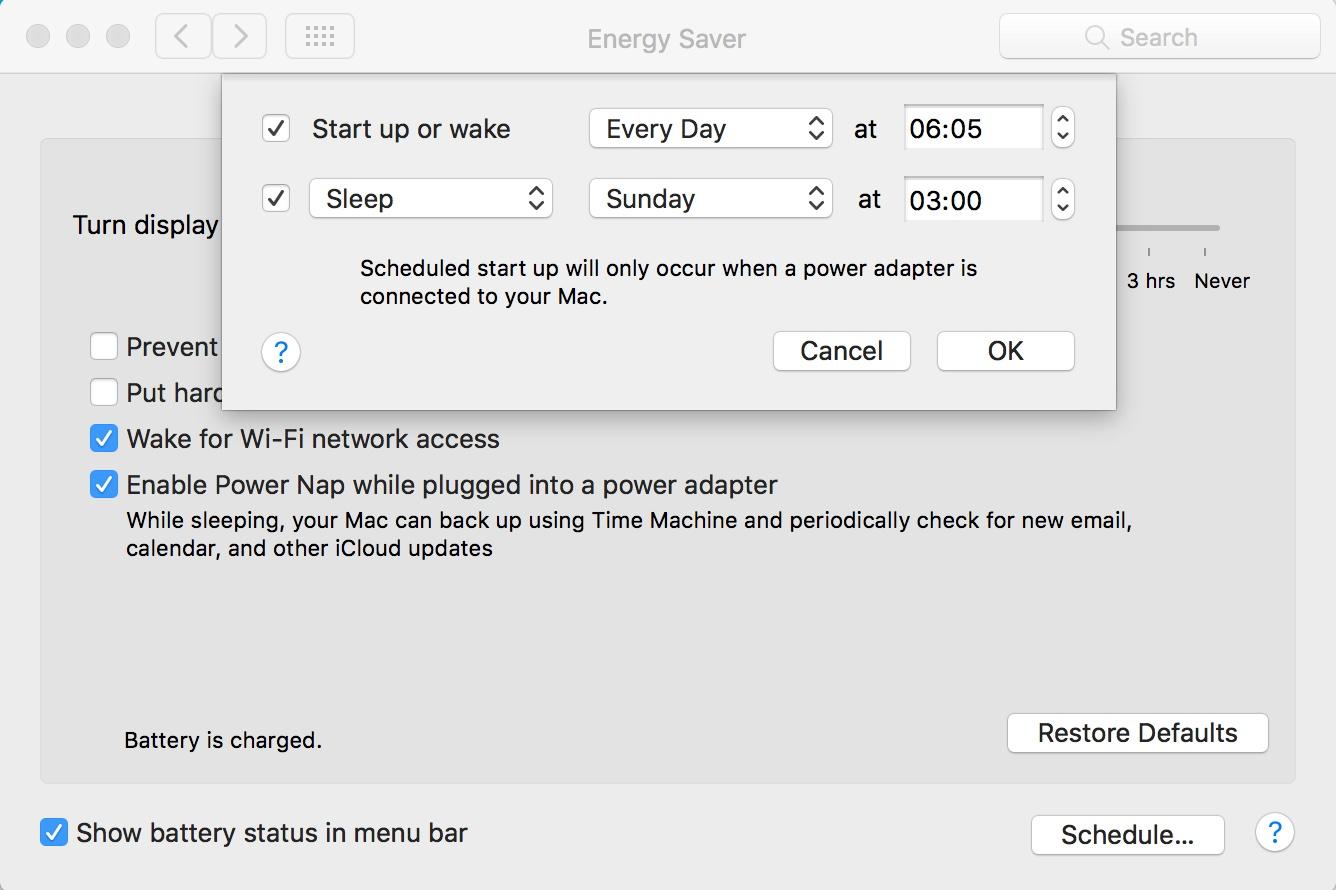 Programare shutdown standby mac