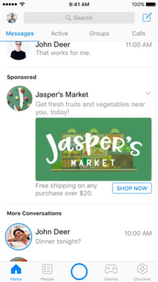facebook messenger reclame