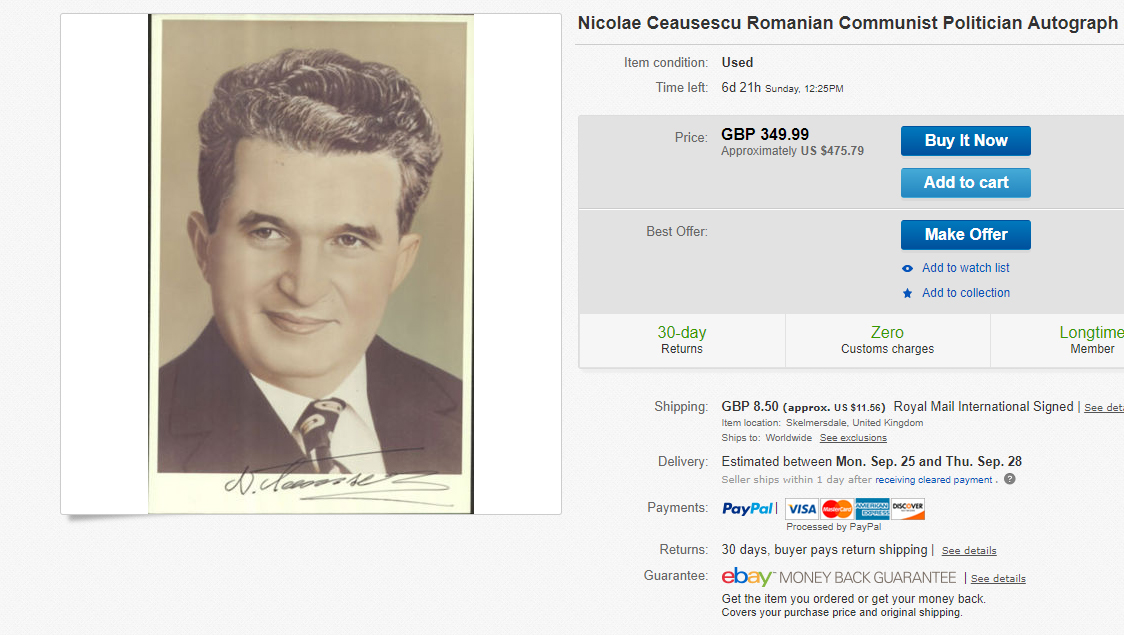 Nicolae Ceausescu ebay
