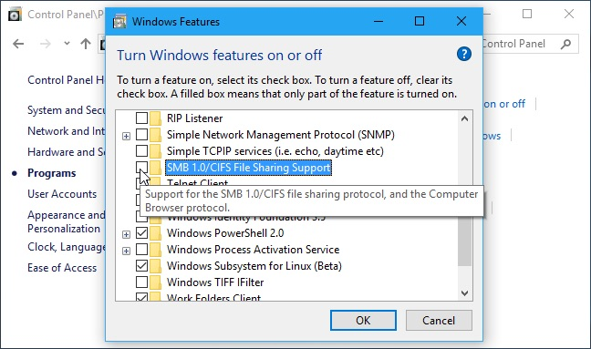 SMB 1.0 CIFS Windows disable