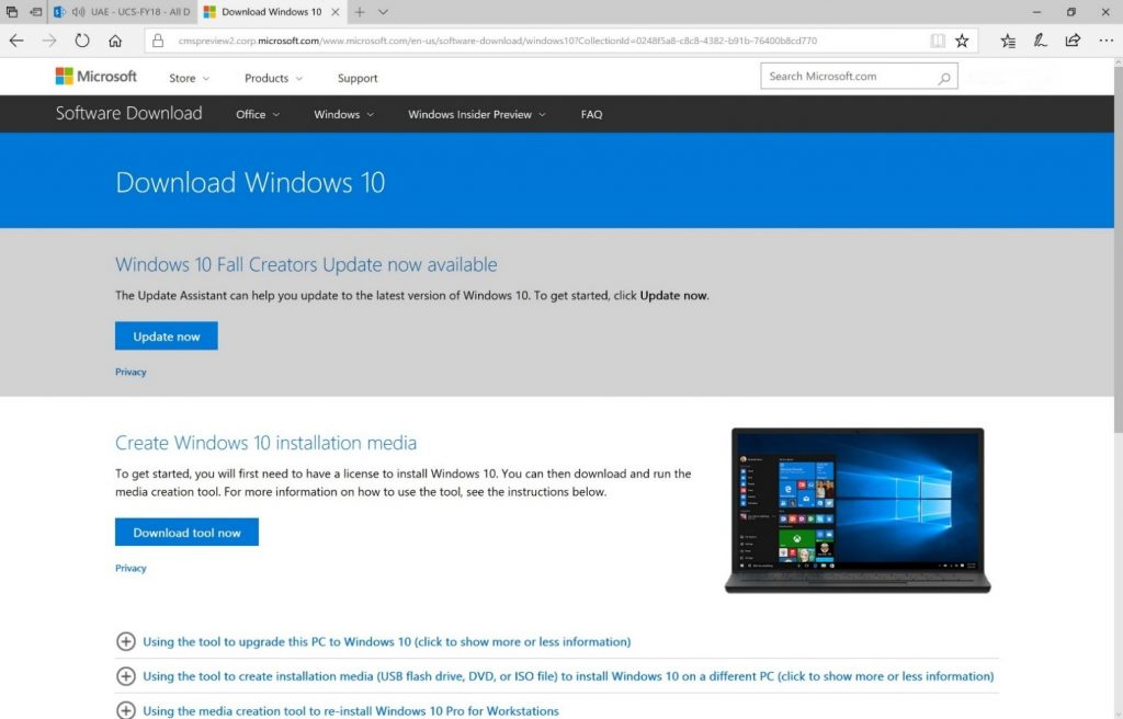 Instalare Windows 10 Fall Creators Update
