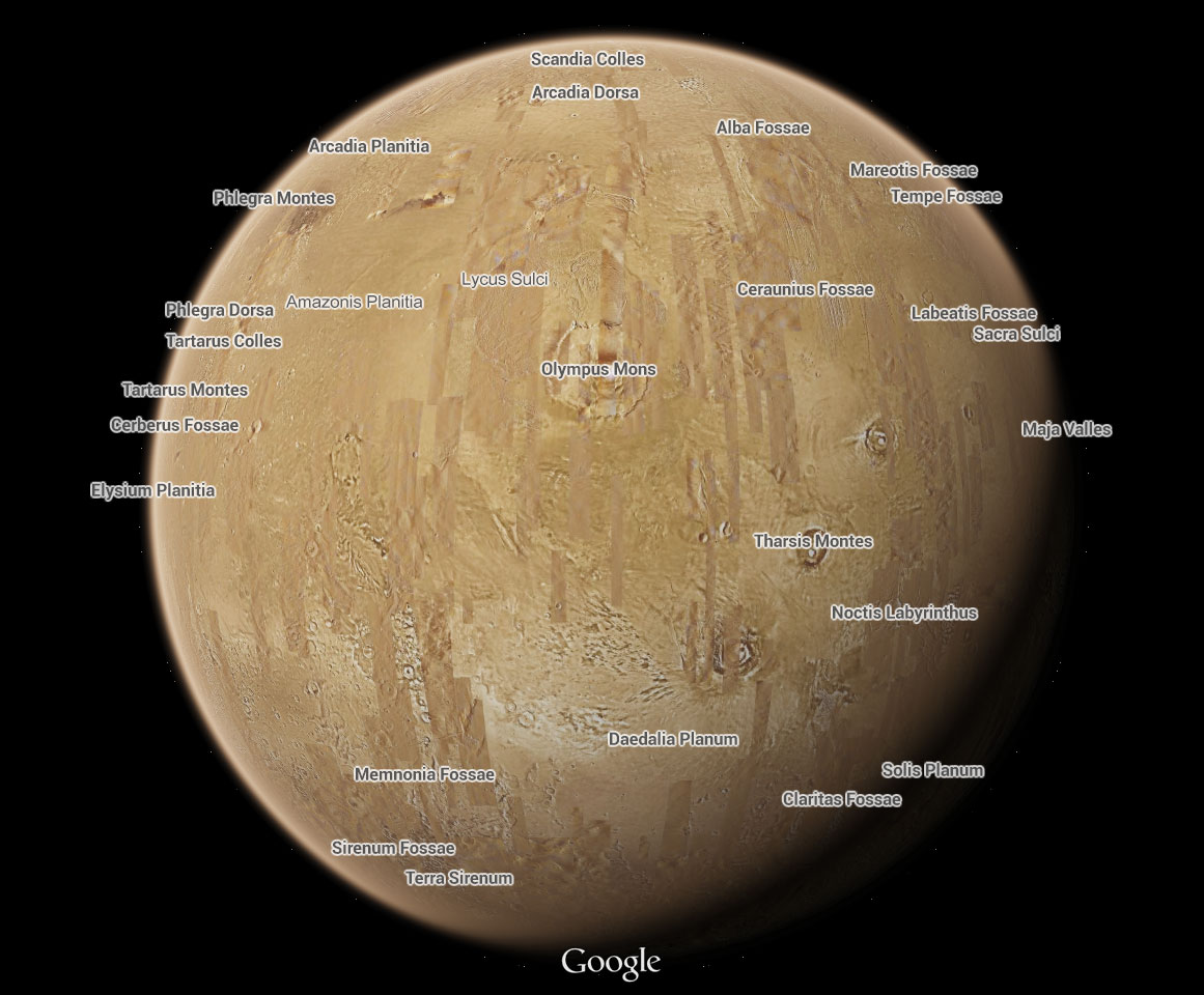 how to see mars on google maps