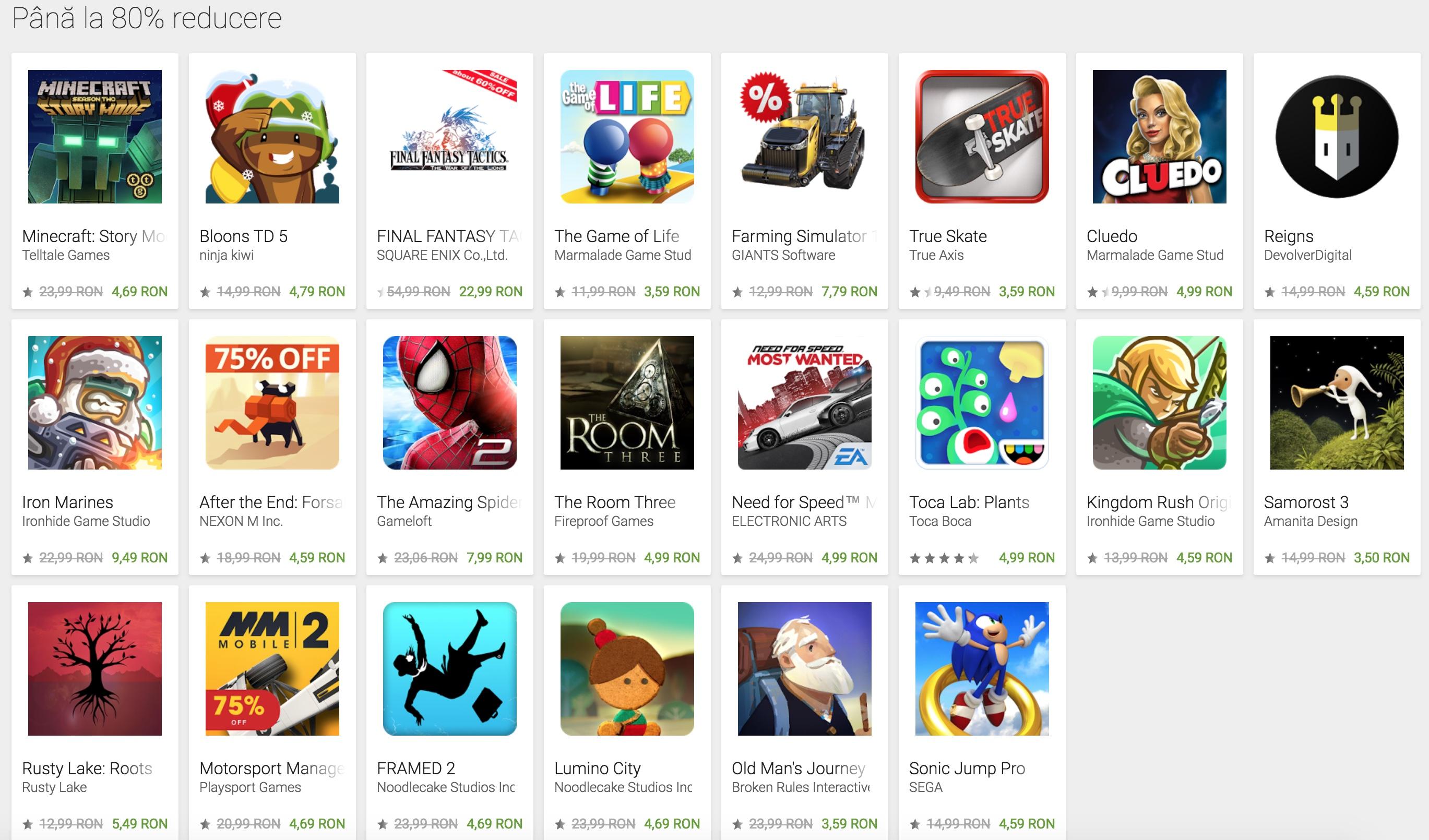Google Play reduceri craciun