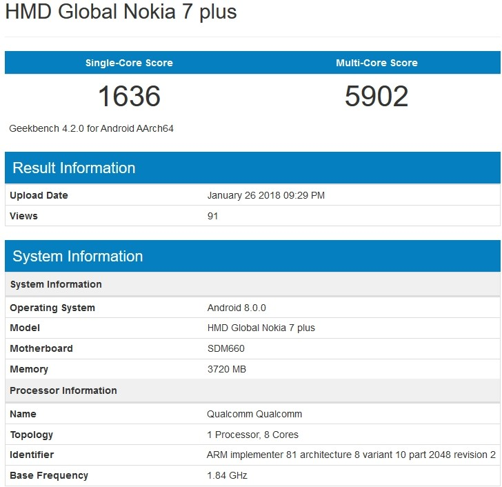 Nokia 7 Plus Geekbench