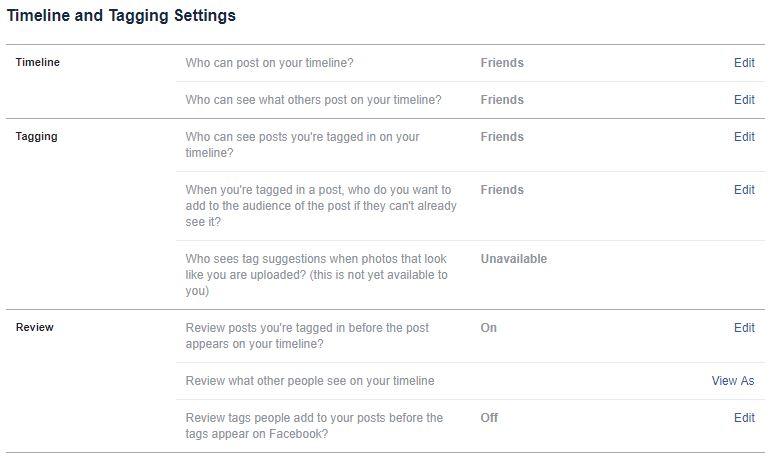 facebook setări timeline