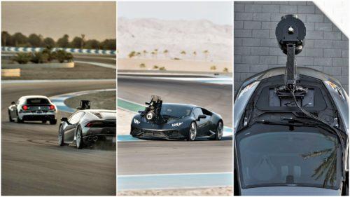 Un Lamborghini pentru Hollywood: ține pe capotă o cameră mai scumpă decât mașina